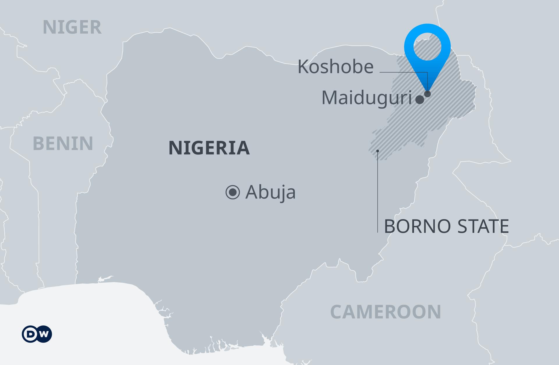Infografik Karte Nigeria mit Borno State EN