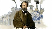 Gemälde von Friedrich Engels, im Hintergrund eine Fabrik