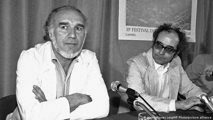 Jean-Luc Godard e o ator Michel Piccoli (esq.) no Festival de Cannes de 1982