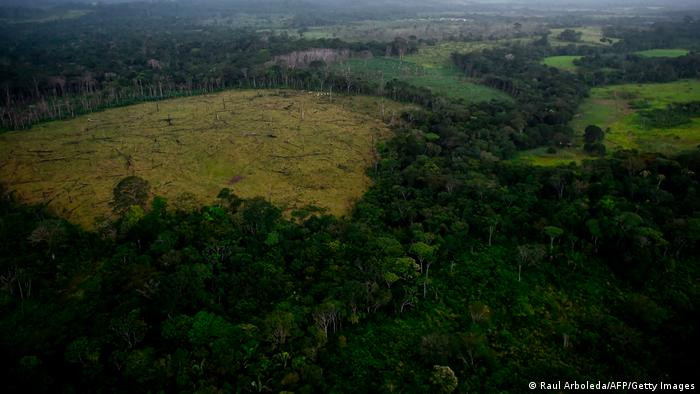 Vista aérea da Floresta Amazônica desmatada