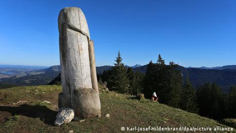 The wooden phallus on Grünten mountain