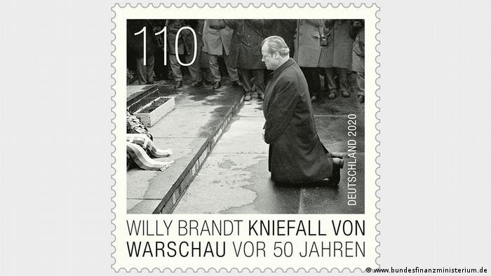 El lanzamiento del sello es parte de las celebraciones del 50 aniversario de la genuflexión de Varsovia en Alemania.