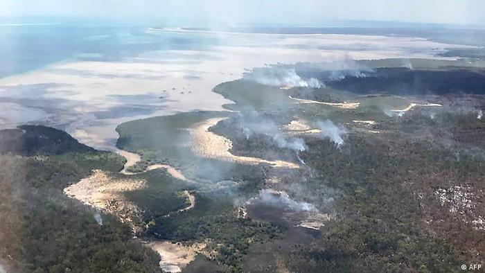 An aerial photo of the fires on Fraser Island