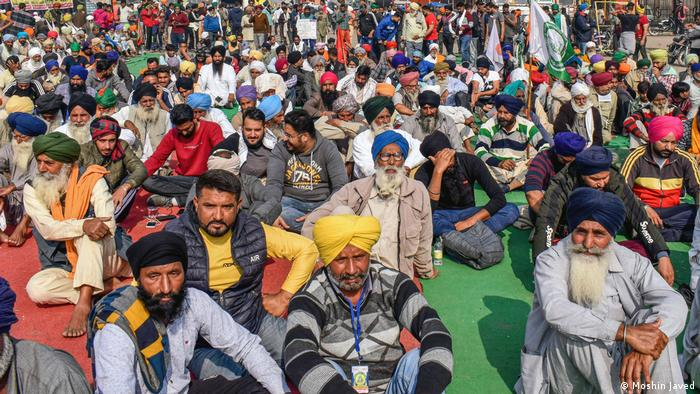 Farmers from the state of Punjab sit in protest at the border between Delhi and Haryana amid an ongoing deadlock between the national government and the protesters.