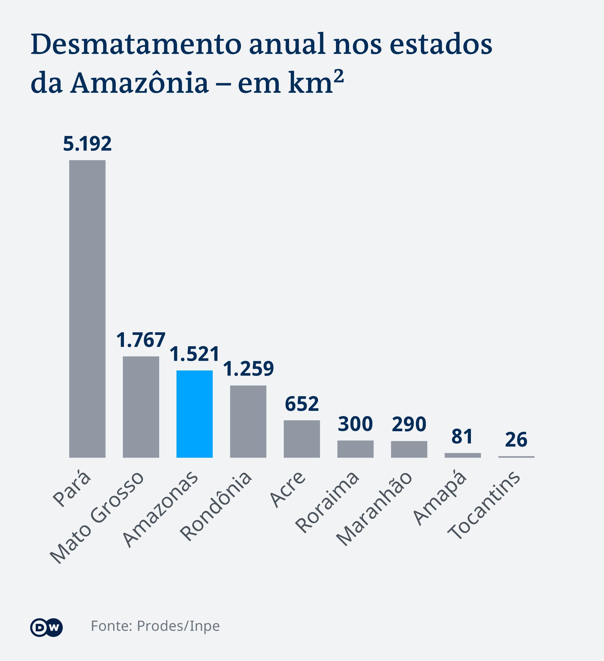 Gráfico: Desmatamento nos estados na Amazônia