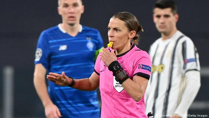 French referee Stephanie Frappart blows the whistle during the UEFA Champions League Group G football match Juventus vs Dynamo Kiev
