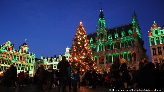 Weihnachtstanne vor dem beleuchteten Rathaus in Brüssel, Belgien