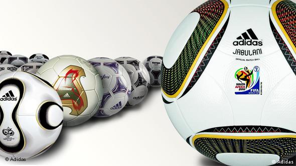 Various World Cup match balls made by Adidas