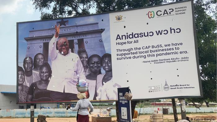 An election billboard featuring Ghana's President Nana Akufo-Addo