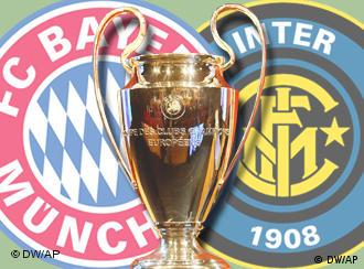 Bayern and Inter Milan badges and Champions League trophy