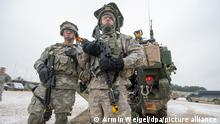 US troops stand during exercises at a base in Germany