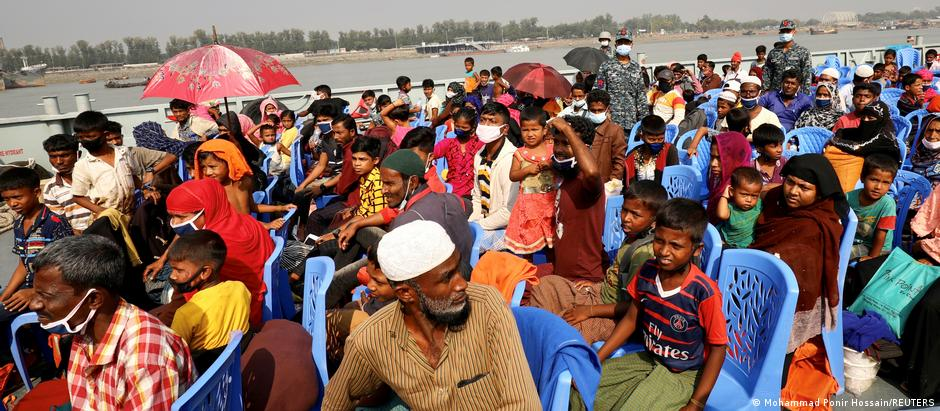 Rohingya board a ship on December 4 to Bhasan Char