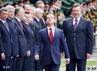 Preşedintele  rus, Dmitri Medvedev, primit la Kiev de omologul Viktor Yanukovici