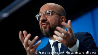 Belgien PK EU-Ratspräsident Charles Michel