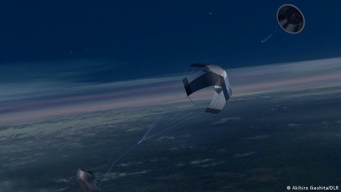 The landing capsule of Hayabusa 2 returning to Earth.