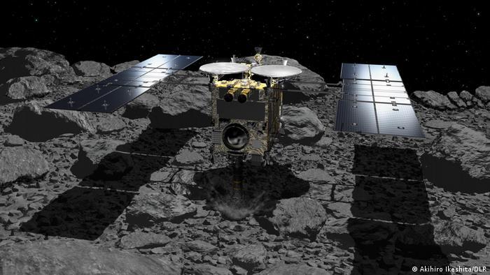 Hayabusa2 taking samples from asteroid Ryugu.