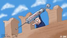 Karikatur Putin hat in Russland eine Massenimpfung mit Sputnik V gegen Coronavorus angekündigt