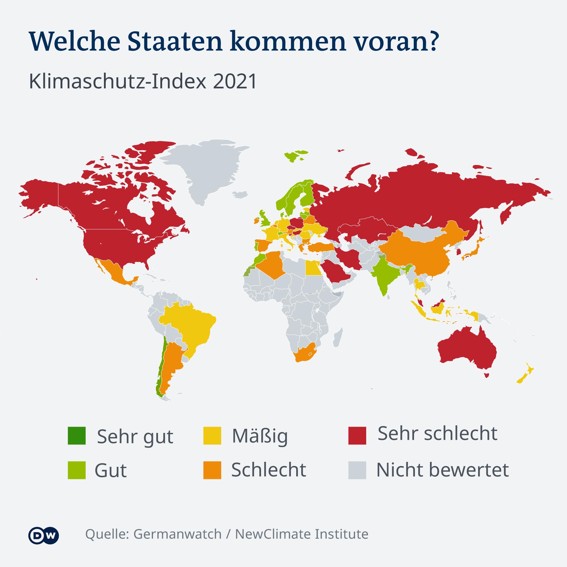 Infografik - Klimaschutz Index 2021 Weltkarte Welche Staaten kommen beim Klimaschutz voran?