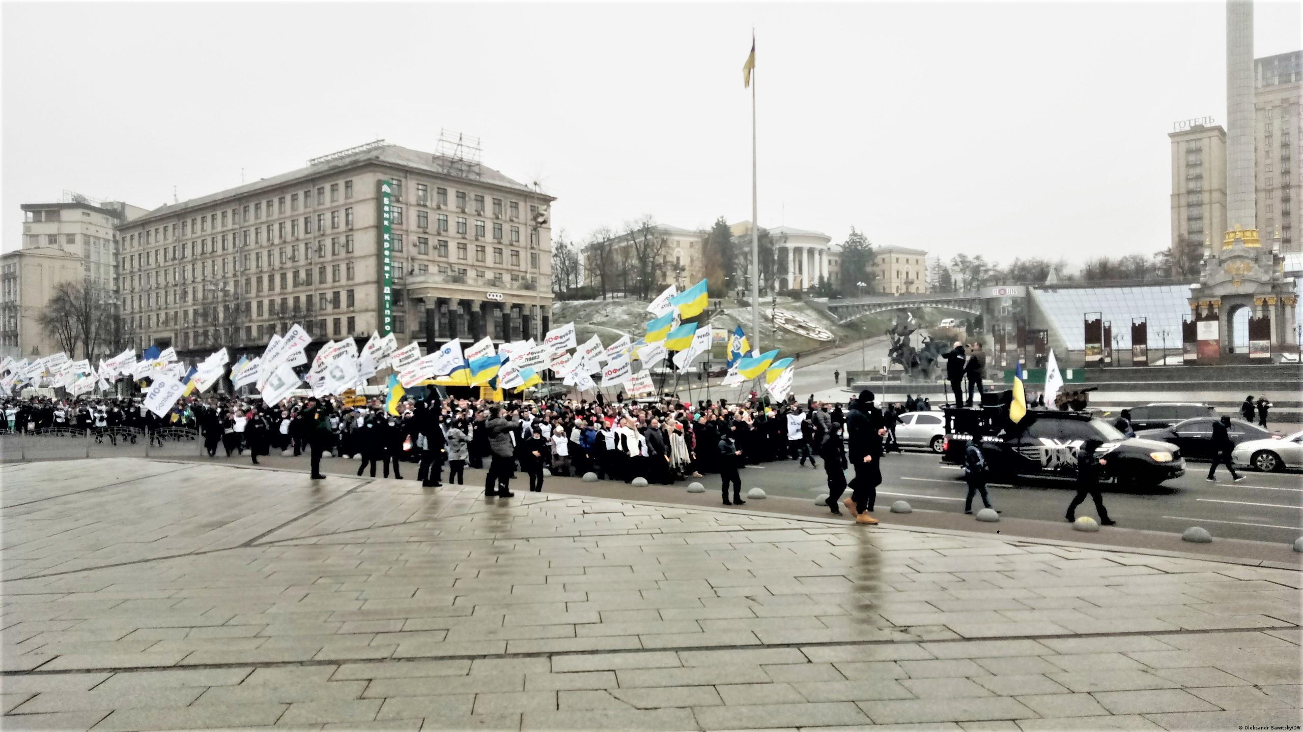 Протестующие идут по Крещатику, 4 декабря