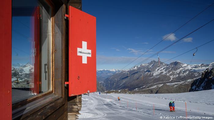 Schweiz Berge Skifahrer