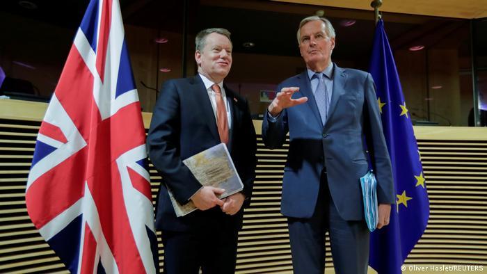 Belgien Michel Barnier und David Frost