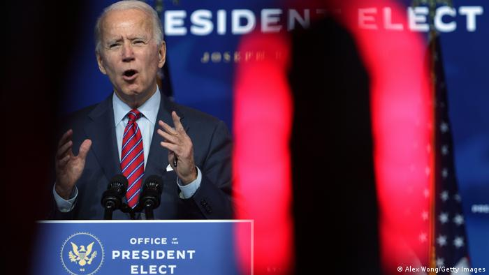 US President-elect Joe Biden speaks on November job numbers at the Queen theater in Wilmington, Delaware