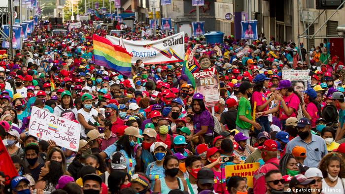 Maduro supporters at a rally in Venezuela