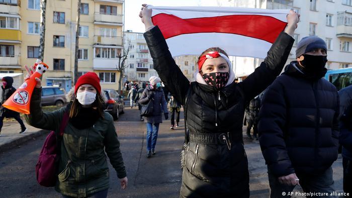 Protesters in Minsk in December