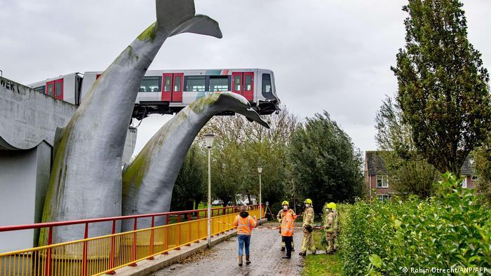 El metro descarrilado en los Países Bajos