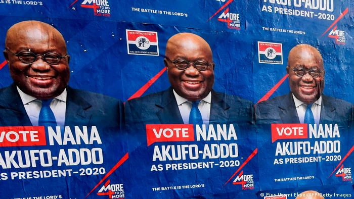 Election campaign posters showing Nana Akufo-Addo's face and urging people to vote for him