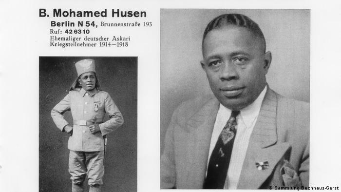 Two photos and details about a man called B. Mohamed Husen, one of him dressed as a colonial soldier and the other, wearing a suit.