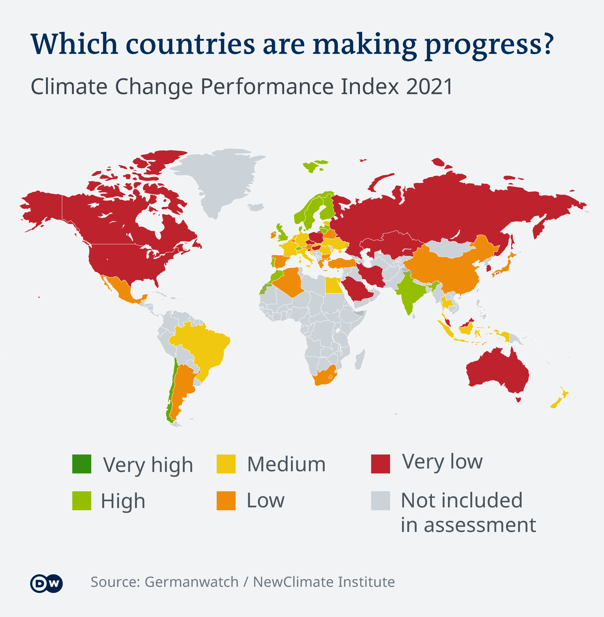 Map showing different countries' progress on climate performance