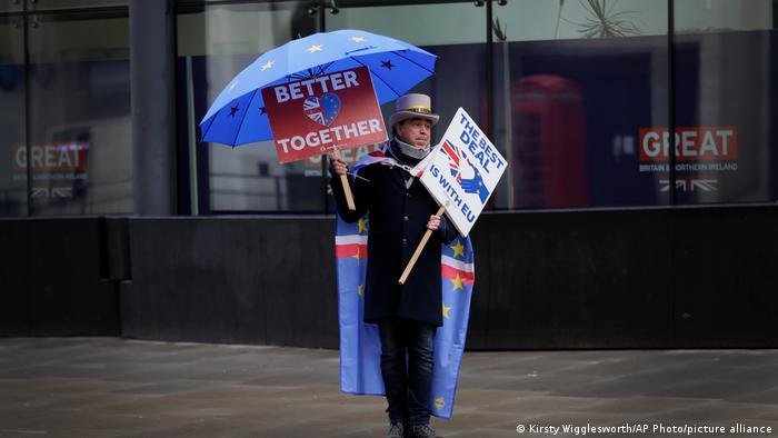 Pro-EU demonstrator Steve Bray protests Brexit in London