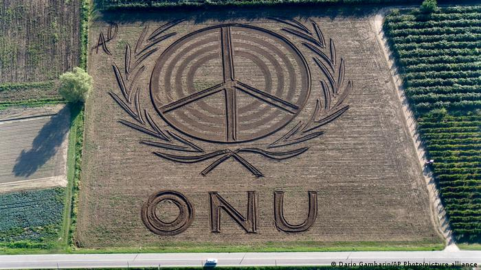 Aerial photo of land art by Dario Gambarin: United Nations symbol and peace sign