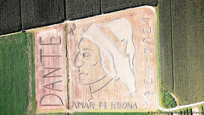 Land art portrait of Dante Alighieri by Dario Gambarin