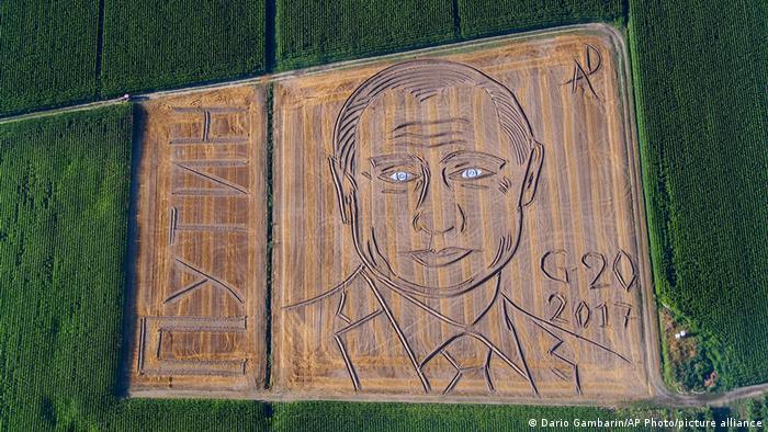 Portrait of Vladimir Putin - land art by Dario Gambarin