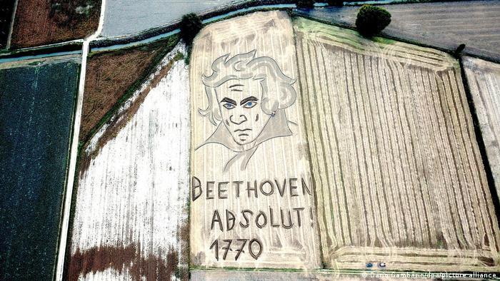 Luftaufnahme zeigt einen Acker, in den das Konterfei Ludwig van Beethovens mit einem Pflug gearbeitet wurde. Darunter steht: Beethoven Absolut 1770.