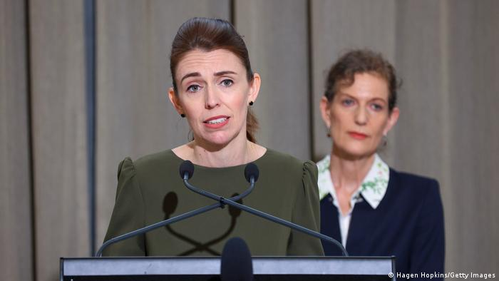Jacinda Ardern in a press conferenc