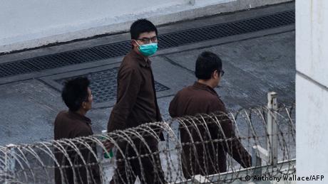 Pro-democracy activist Joshua Wong in jail in December 2020