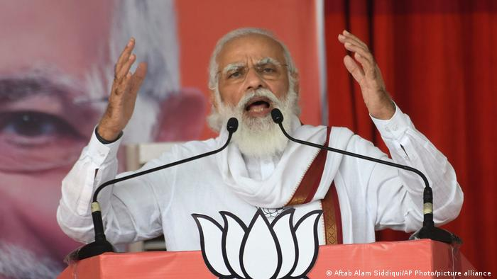 Indian Prime Minster Narendra Modi addresses a gathering ahead of Bihar state Assembly