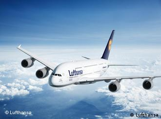 Lufthansa Airbus A380 Superjumbo in flight