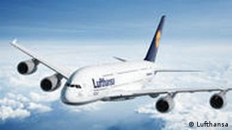 A Lufthansa Airbus A380 superjumbo in flight.