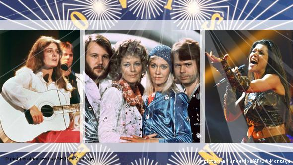 Winners at Eurovision: Nicole 1982 (Germany), ABBA 1974 (Sweden) and Ruslana 2004 (Ukraine)