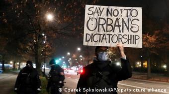 Polonya'da Macaristan Başbakanı Orban'ı protesto eden bir gösterici