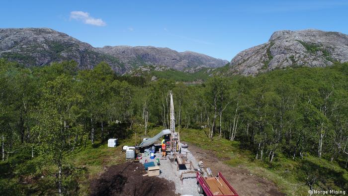 Geologische Bohrungen in Norwegen zeigten große Reserven an seltenen Rohstoffen. Auf dem Bild. Bohrungs in der Region Dalane, Norwegen.