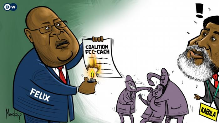 A cartoon by artist Meddy shows President Tshisekedi setting fire to the coalition agreement while Kabila lools on nonplussed and their followers fight it out in the background