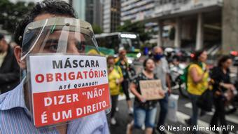 Brasilien Corona l Proteste gegen Coronaimpfung und Joao Doria, Sao Paulo