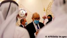 10.12.2020 *** French Foreign Minister Jean-Yves Le Drian arrives to give a joint press conference with his Qatari counterpart, in Qatar's capital Doha, on December 10, 2020. (Photo by - / AFP) (Photo by -/AFP via Getty Images)