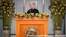 Nobel Committee chair Berit Reiss-Andersen makes a statement at the Nobel Institute as part of the digital award ceremony for this year's Peace Prize winner, the World Food Program (WFP), in Oslo, Norway, Thursday Dec. 10, 2020. Reiss-Andersen makes a statement in Oslo as part of the digital award ceremony for this year's Nobel Peace Prize winner, United Nations World Food Programme (WFP) and an acceptance speech will be made by WFP Executive Director David Beasley in Rome, Italy. (Heiko Junge / NTB via AP)