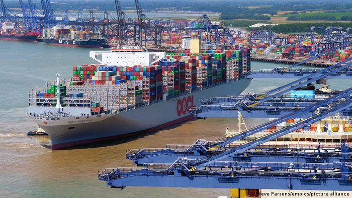 A container ship in the Port of Felixstowe in England